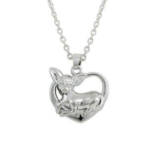 Jewelry - Chihuahua LOVE Pendant Silver Plated Necklace